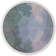 The Seine At Giverny, Morning Mists, 1897 Round Beach Towel