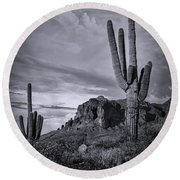Round Beach Towel featuring the photograph The Sentinels Of The Supes In Black And White  by Saija Lehtonen