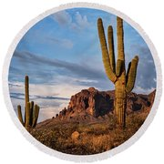 Round Beach Towel featuring the photograph The Sentinels Of The Supes In Color  by Saija Lehtonen