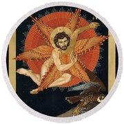 The Seraphic Christ - Rlsec Round Beach Towel