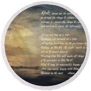 The Serenity Prayer - Clouds Round Beach Towel