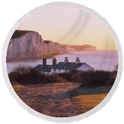 Round Beach Towel featuring the photograph The Seven Sisters Cottages by Will Gudgeon