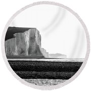 Round Beach Towel featuring the photograph The Seven Sisters, Sussex England  by Will Gudgeon