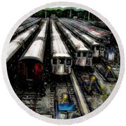 The Seven Train Yard Queens Ny Round Beach Towel