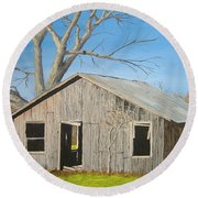 Round Beach Towel featuring the painting The Shack by Norm Starks