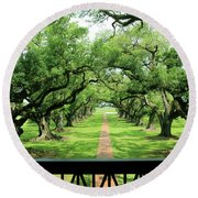 The Shade Of The Oak Tree Round Beach Towel