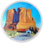 The Shadow Of The Three Gossips Arches Utah Round Beach Towel