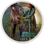 Round Beach Towel featuring the digital art The Horse Whisperer by Shadowlea Is