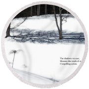 The Shadows We Cast Haiku Round Beach Towel