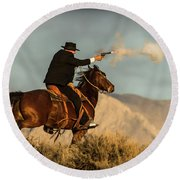 The Sharp Shooter Western Art By Kaylyn Franks Round Beach Towel