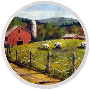 Round Beach Towel featuring the painting The Sheep Farm by Jim Phillips