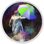 Round Beach Towel featuring the photograph The Sheer Joy Of Puddles by LemonArt Photography