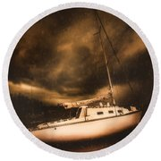 The Shipwreck And The Storm Round Beach Towel