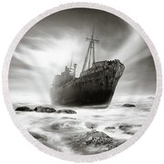 The Shipwreck Round Beach Towel by Marius Sipa
