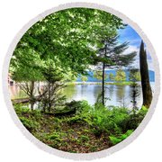 Round Beach Towel featuring the photograph The Shore At Covewood by David Patterson