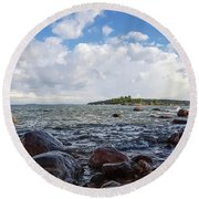 The Shore In Helsinki, Finland. Round Beach Towel
