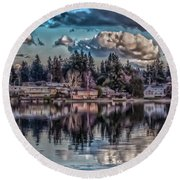 Round Beach Towel featuring the digital art The Shore by Timothy Latta