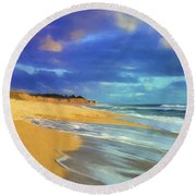 The Shoreline At Half Moon Bay Round Beach Towel