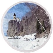 The Shoreline Lighthouse Round Beach Towel by Maciek Froncisz