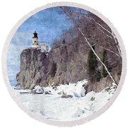 The Shoreline Lighthouse Round Beach Towel