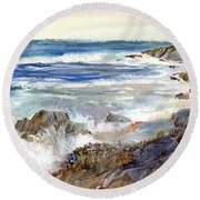 The Shores Of Falmouth Round Beach Towel