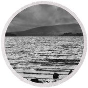 Round Beach Towel featuring the photograph The Shores Of Loch Lubnaig by Christi Kraft