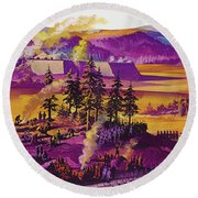 The Siege Of Fort William Henry 1757 Round Beach Towel