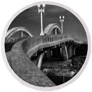 The Sierra Vista Bridge Of Roseville Round Beach Towel