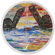 Round Beach Towel featuring the painting The Signature Bridge by Andrew J Andropolis