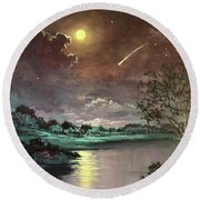 The Silence Of A Falling Star Round Beach Towel