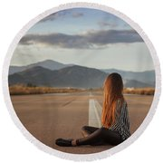 The Silence Of Solitude Round Beach Towel