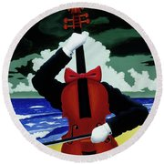 The Silent Soloist Round Beach Towel