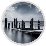 Round Beach Towel featuring the photograph The Silver Lining by Robin-Lee Vieira