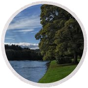 The Silvery Tay By Dunkeld Round Beach Towel