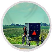 The Simple Life - Amish In Iowa Round Beach Towel