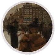 The Singel Bridge At The Paleisstraat In Amsterdam, 1896 Round Beach Towel