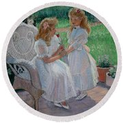 The Sister's Garden Round Beach Towel