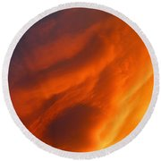 The Sky Is Burning Round Beach Towel