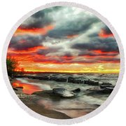 The Sky On Fire At Sunset On Lake Erie Round Beach Towel