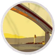 The Skye Bridge And Kyleakin Lighthouse  Round Beach Towel