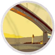 The Skye Bridge And Kyleakin Lighthouse  Round Beach Towel