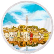 The Skyline Of The Picturesque Fishing Port Of Rovinj/rovigno In Round Beach Towel