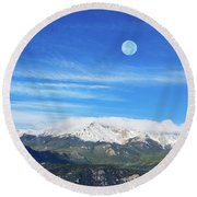 The Skyscraper That Towers Over My Hometown, Reaches The Clouds At 14115 Feet Above Sea Level.  Round Beach Towel