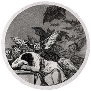 The Sleep Of Reason Produces Monsters Round Beach Towel