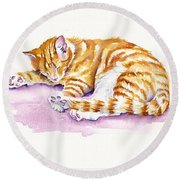 The Sleepy Kitten Round Beach Towel