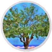 Round Beach Towel featuring the photograph The Smiling Tree Of Benitses by Leigh Kemp