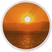 The Smoke From A Forest Fire Gave Us This Tangerine Sky Over 11-mile Reservoir State Park, Colorado. Round Beach Towel
