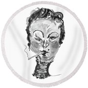 Round Beach Towel featuring the mixed media The Smoker - Black And White by Marian Voicu