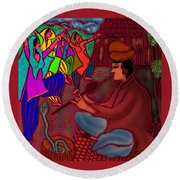 The Snake Charmer Round Beach Towel by Latha Gokuldas Panicker