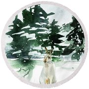 Round Beach Towel featuring the painting The Snow Bunny by Colleen Taylor
